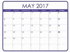 May Calendar For 2017 – Printable Calendar 20182019