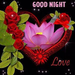 Good Night With Flowers Good night love heart graphic ...