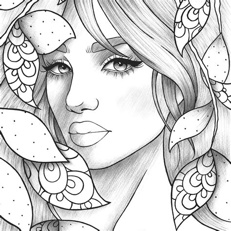 Adult coloring page girl portrait and leaves colouring