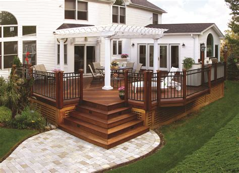 patio planner wood deck with pergola and paver walkway archadeck outdoor living