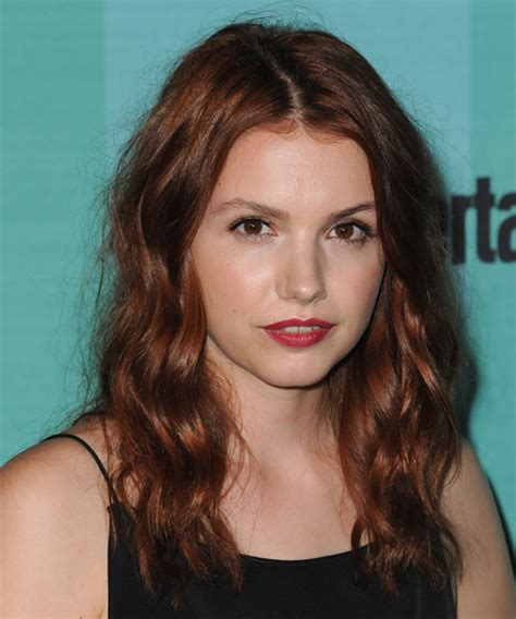 Hannah Murray Long Wavy Casual Hairstyle   Dark Red Hair Color