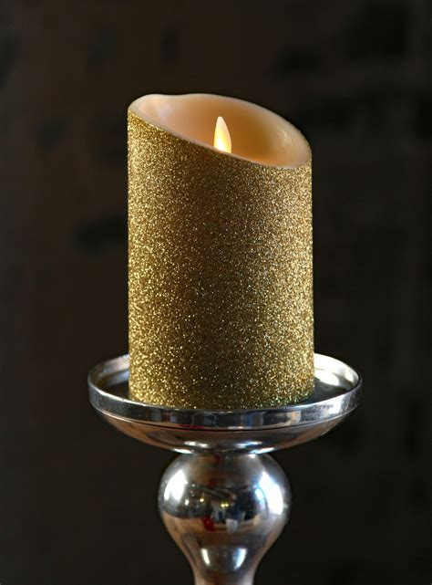 moving flame gold glitter candle battery operated