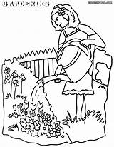 Gardening Coloring Pages Watering Print sketch template