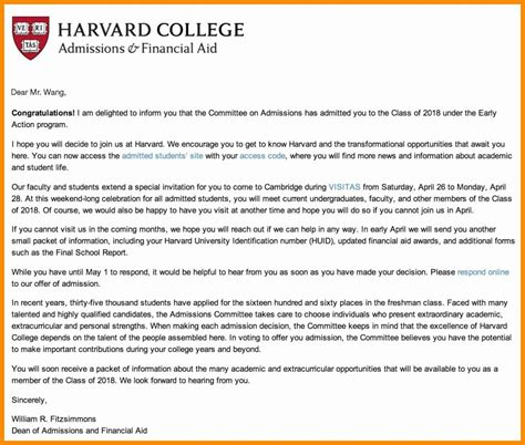 harvard acceptance letter template collection letter