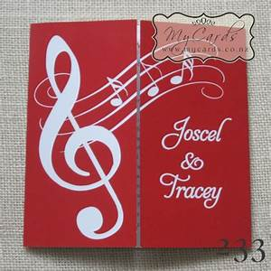 music notes red 140mm gatefold wedding invitation 233 With wedding invitation musical design