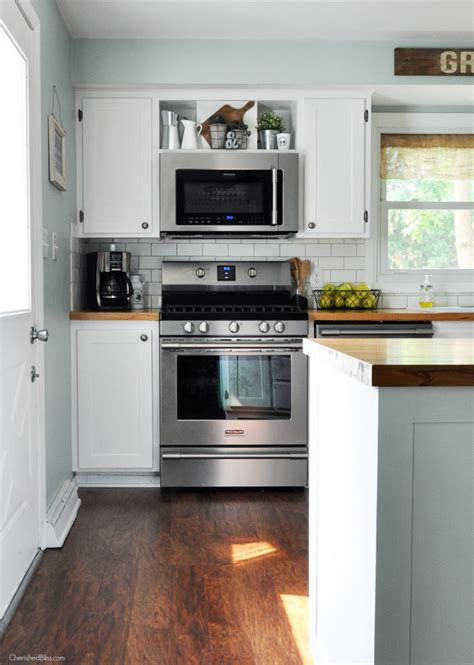 microwave over stove industrial farmhouse kitchen cherished bliss