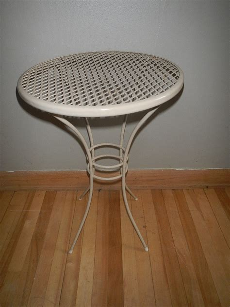 small metal patio table vintage small round metal patio table side end by