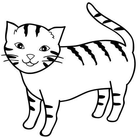 contoh 26 gambar mewarnai hitam putih kucing