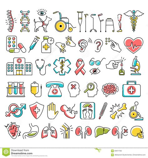 disability  medical icons signs isolated  white stock
