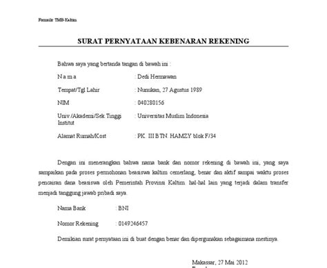 contoh surat pernyataan nomor rekening verotoh
