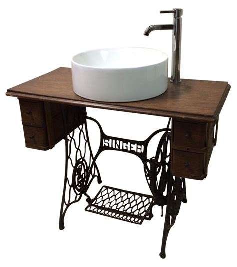 Bathroom Vanity And Sink For Sale singer sewing table converted bathroom sink vanity
