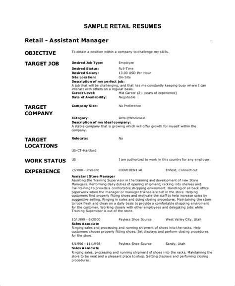 Retail Resume Objective by 8 Sle Objectives For Resumes Sle Templates