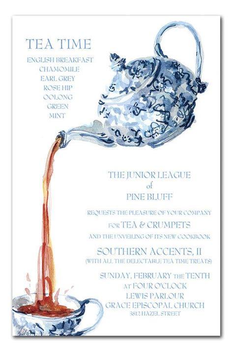 bridal showertea party invitation templates blue