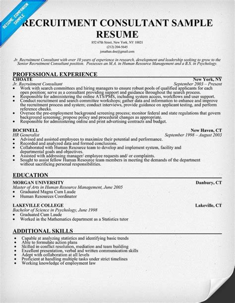Recruitment Consultant Cover Letter Exle by Recruitment Consultant Resume Sle Resumecompanion