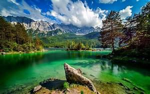 Eibsee, Lake, In, Bavaria, Ggermany, Lake, With, Turquoise, Green