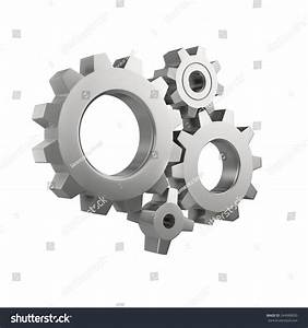 Simple Mechanical System Gear Wheels Isolated Stock ...