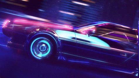 retro wave synthwave  neon delorean car