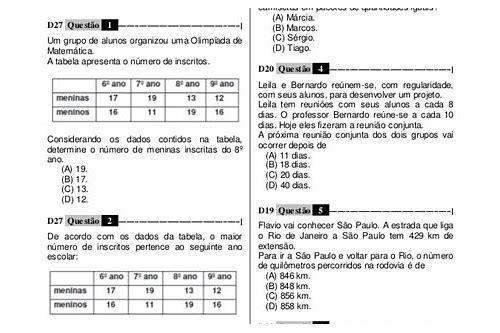 baixar prova brasil 5 ano matematica