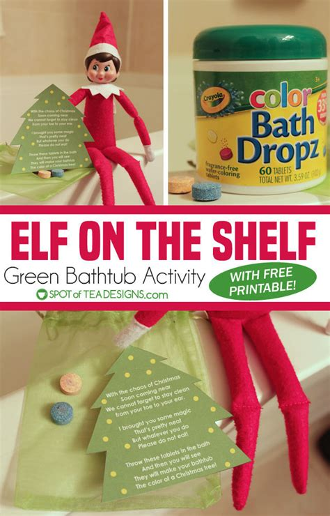 green on the shelf on the shelf idea green bathtub activity spot of