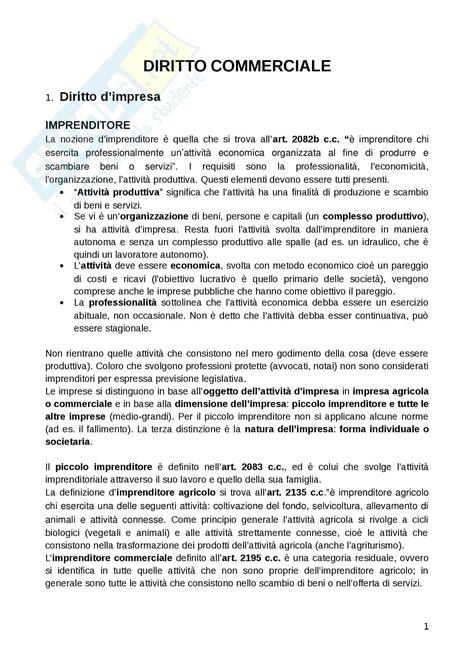 Dispensa Diritto Commerciale by L Impresa Nel Diritto Commerciale