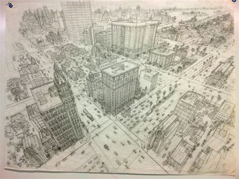 city scape   point perspective  gary meyer drawing