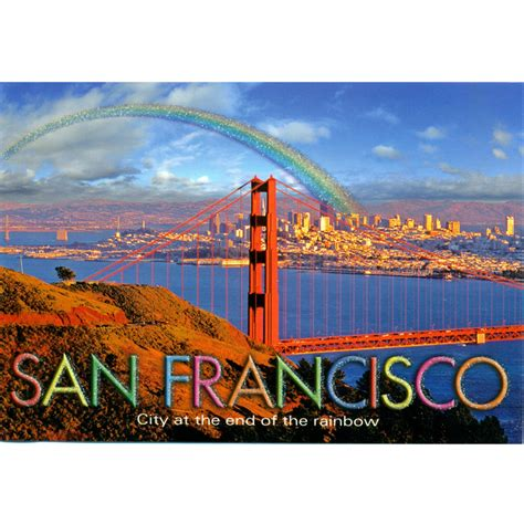 san francisco golden gate bridge  rainbow postcard