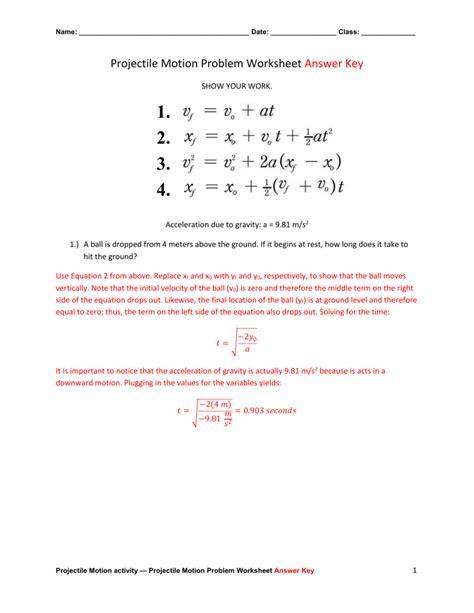 unit vi worksheet 3 projectile motion problems answers