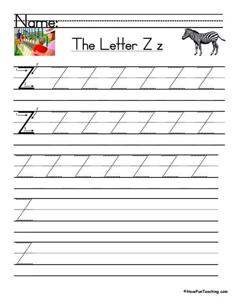 letter z handwriting practice teaching