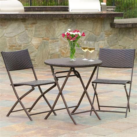 cantinela 3pc outdoor wicker folding bistro set