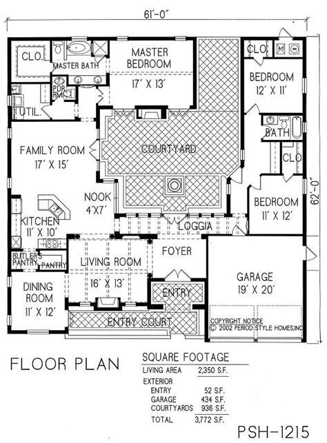 courtyard home plans courtyard house plans home decor