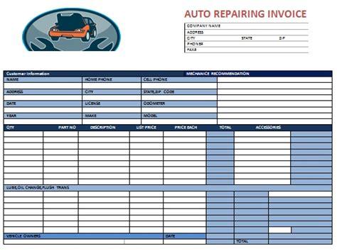 auto repair invoice template printable receipt template