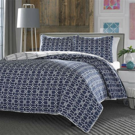 Navy White Quilt by King Navy White Geometric Reversible Quilt Coverlet