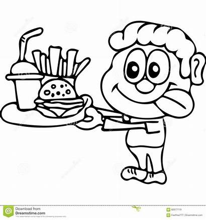 Coloring Pages Fast Unhealthy Drawing Kid Eat