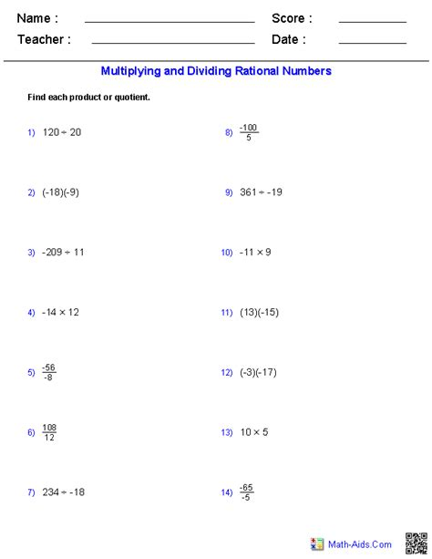 multiplying and dividing real numbers worksheet multiplying and dividing rational numbers worksheets