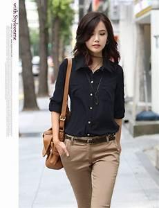 This aesthetic // Free shippingNew Korean FashionOffice StyleLong sleeved Women Cotton Shirt ...