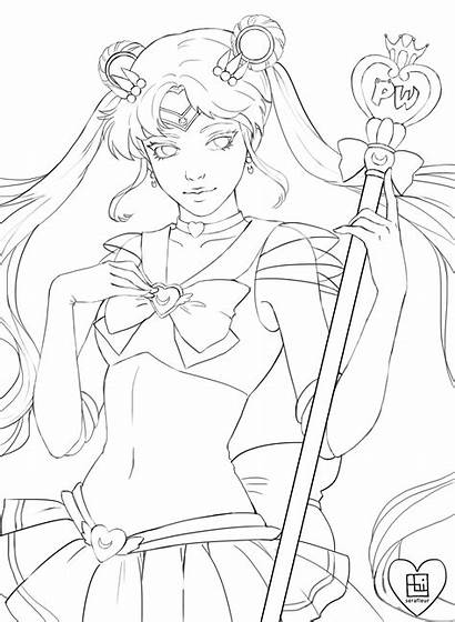 Coloring Fan Sailor Moon Line Serafleur Designlooter