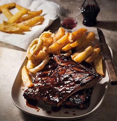 sticky barbecue pork spareribs  chunky triple cooked