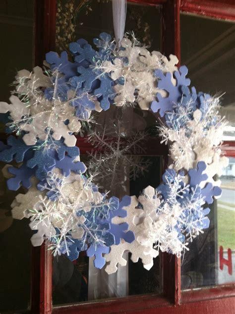 foam snowflakes tinsel snowflakes tulle   wreath