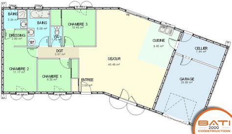 modele maison plain pied 3 chambres plan maison plain pied 3 chambres avec suite parentale