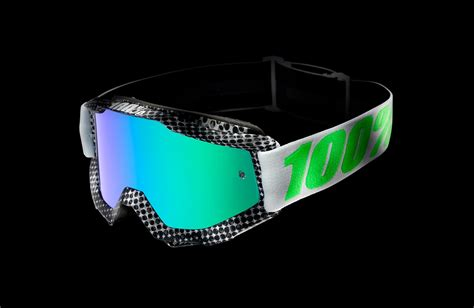 tinted motocross goggles 100 percent new mx accuri newsworthy green tinted