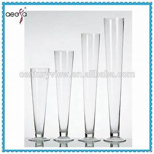 Round Tall Trumpet Wholesale Table Glass Vases For Wedding