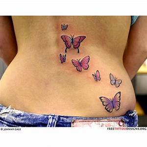 Colorful butterflies tattoo on back - Tattoos Book - 65 ...