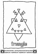 Coloring Preschool Triangle Pages Triangles Worksheets Trace Crafts Educational Kindergarten Toddler sketch template