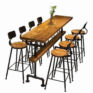 Table Bar Industriel : style industriel r tro table de bar caf boutique en bois massif mur haute bar tables dans ~ Teatrodelosmanantiales.com Idées de Décoration