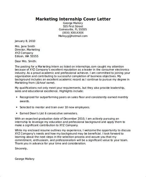 sample internship cover letters  word