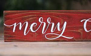 Red, Merry, Christmas, Wood, Sign