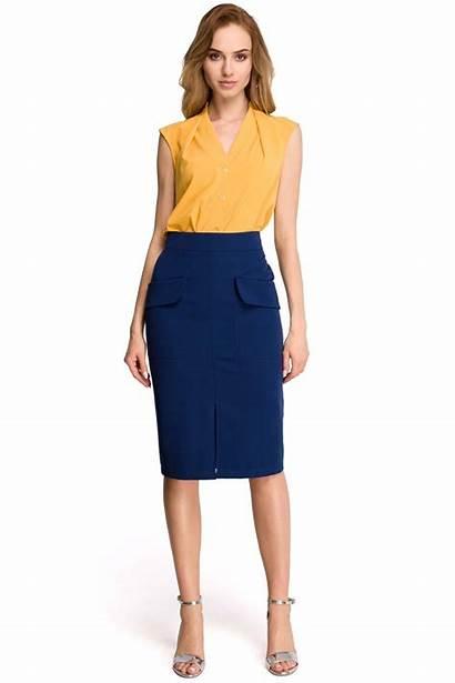 Skirt Pencil Navy Slit Skirts Navyblue Outfits