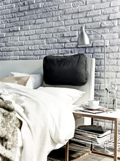 Gray stone wall in the bedroom   Interior Design Ideas