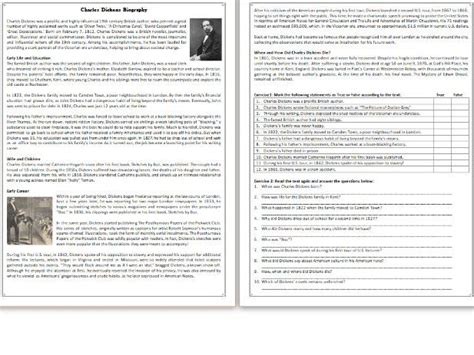 charles dickens biography reading comprehension worksheet informational text by mariapht