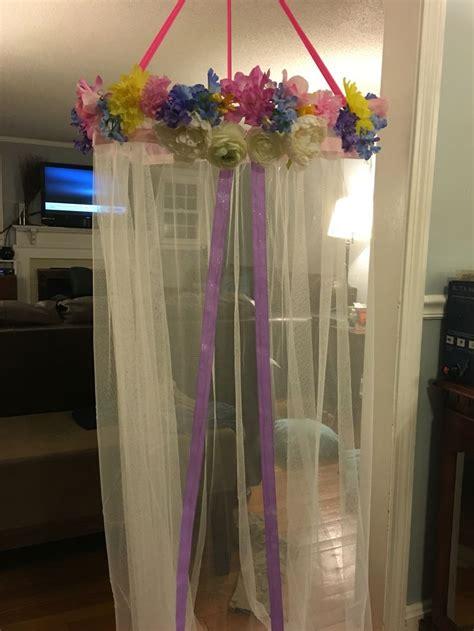 diy girls canopy  hula hoop ikea curtain  dollar store flowers julianna pinterest
